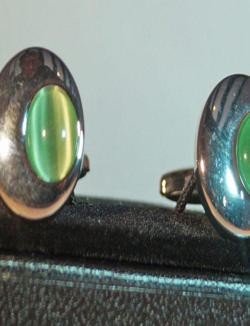 Silver & Green Cufflinks